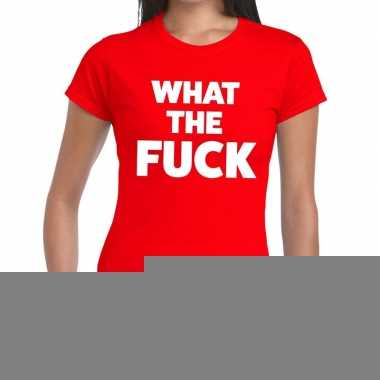 Goedkope what the fuck fun t shirt rood voor dames