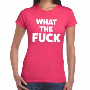 Goedkope what the fuck fun t shirt roze voor dames