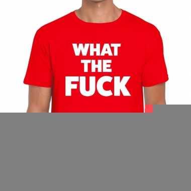 Goedkope what the fuck fun t shirt voor heren rood