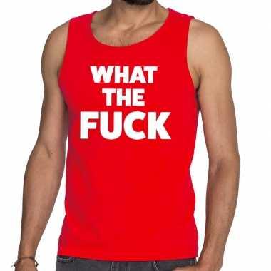 Goedkope what the fuck fun tanktop / mouwloos shirt rood voor heren