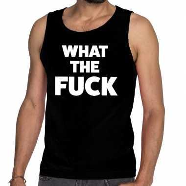 Goedkope what the fuck fun tanktop / mouwloos shirt zwart voor heren