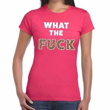 Goedkope what the fuck tijger print fun t shirt roze voor dames