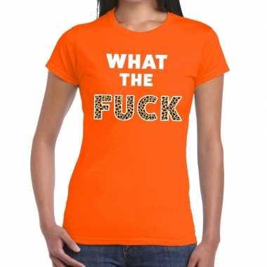 Goedkope what the fuck tijgerprint fun t shirt oranje voor dames