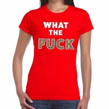 Goedkope what the fuck tijgerprint fun t shirt rood voor dames