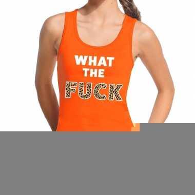 Goedkope what the fuck tijgerprint fun tanktop / mouwloos shirt oranj
