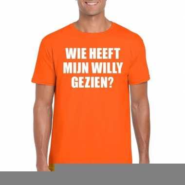 Goedkope wie heeft mijn willy gezien shirt oranje heren