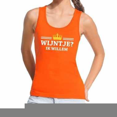 Goedkope wijntje ik willem mouwloos shirt / tanktop oranje dames