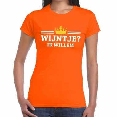Goedkope wijntje ik willem shirt oranje dames