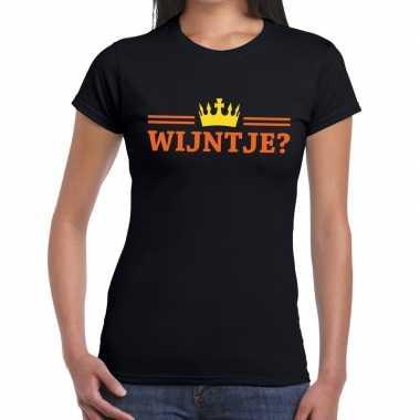 Goedkope wijntje shirt zwart voor dames