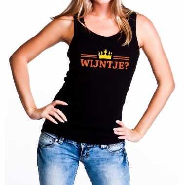 Goedkope wijntje tanktop / mouwloos shirt zwart voor dames
