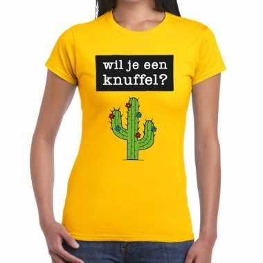 Goedkope wil je een knuffel fun t shirt geel voor dames