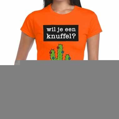 Goedkope wil je een knuffel fun t shirt oranje voor dames