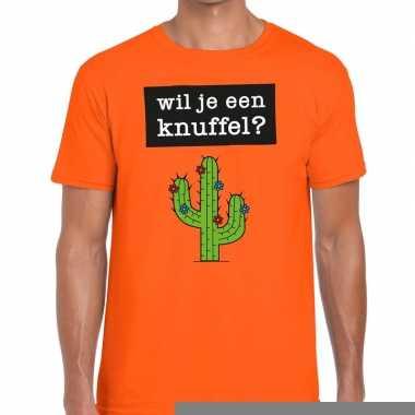 Goedkope wil je een knuffel fun t shirt oranje voor heren