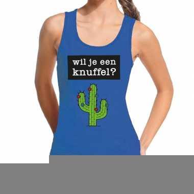 Goedkope wil je een knuffel fun tanktop / mouwloos shirt blauw voor d