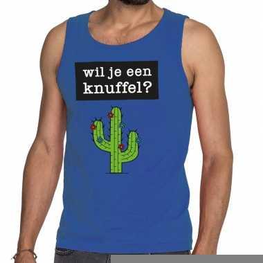 Goedkope wil je een knuffel fun tanktop / mouwloos shirt blauw voor h