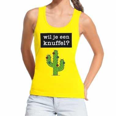 Goedkope wil je een knuffel fun tanktop / mouwloos shirt geel voor da