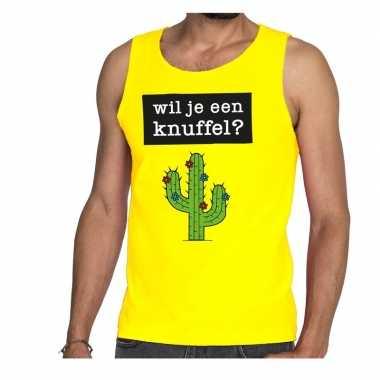 Goedkope wil je een knuffel fun tanktop / mouwloos shirt geel voor he