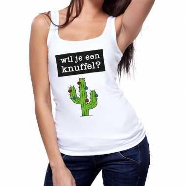 Goedkope wil je een knuffel fun tanktop / mouwloos shirt wit voor dam