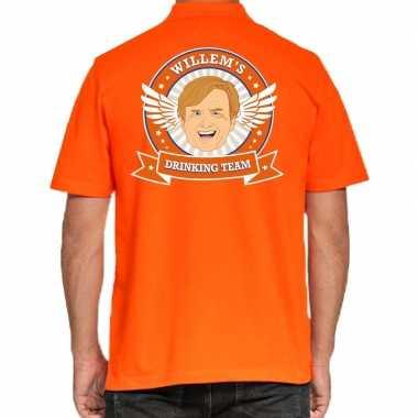 Goedkope willems drinking team polo t shirt oranje met kroon voor her