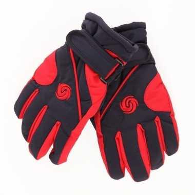 Goedkope winter handschoenen voor jongens rood/donkerblauw