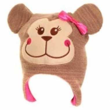 Goedkope wintermuts aap voor meisjes roze