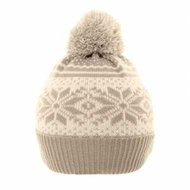 Goedkope wintermuts nordic print grijs/wit voor meisjes
