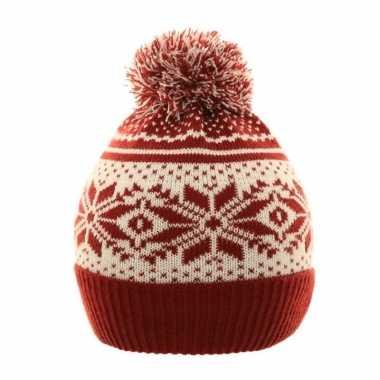 Goedkope wintermuts nordic print rood/wit voor meisjes