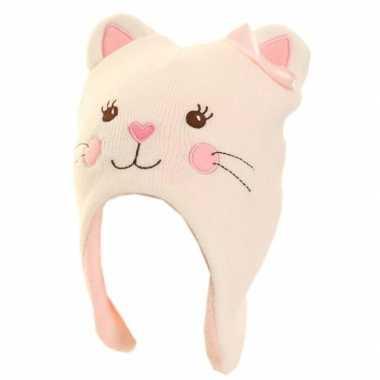 Goedkope wintermuts poes/kat voor meisjes roze