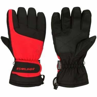 Goedkope wintersport handschoenen voor volwassenen rood/zwart