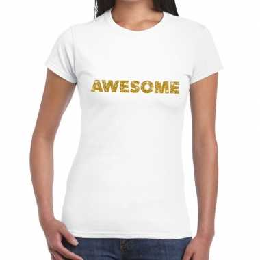Goedkope wit awesome goud fun t shirt voor dames