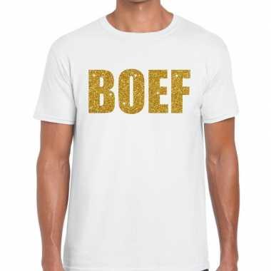 Goedkope wit boef glitter goud fun t shirt voor heren