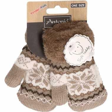 Goedkope wit/bruin gebreide handschoenen met noorse print voor peuters