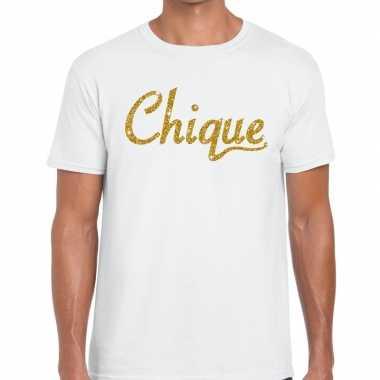 Goedkope wit chique goud fun t shirt voor heren
