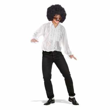 Goedkope wit disco overhemd/rouche blouse voor heren