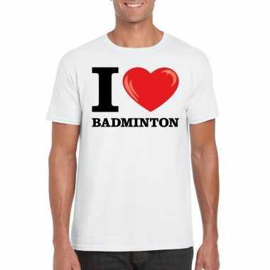 Goedkope wit i love badminton t shirt heren