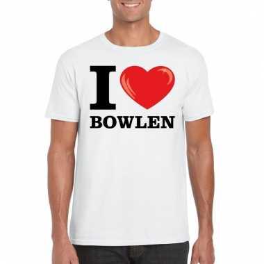Goedkope wit i love bowlen t shirt heren