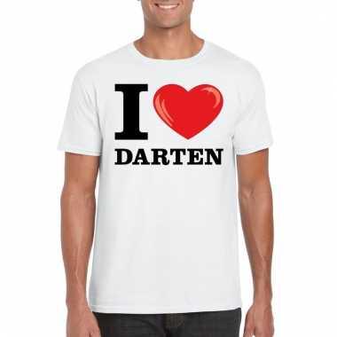 Goedkope wit i love darten t shirt heren