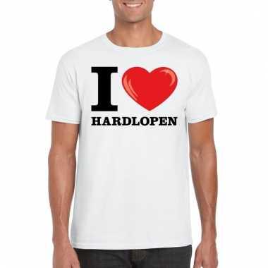 Goedkope wit i love hardlopen t shirt heren