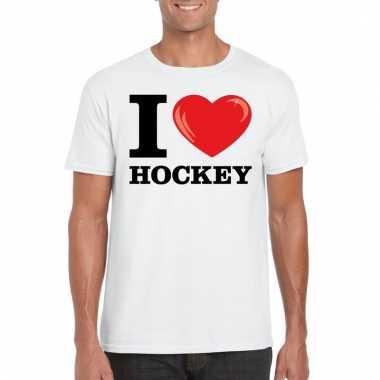 Goedkope wit i love hockey t shirt heren