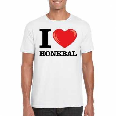 Goedkope wit i love honkbal t shirt heren