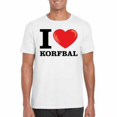 Goedkope wit i love korfbal t shirt heren