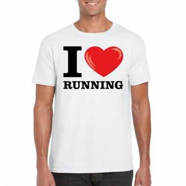 Goedkope wit i love running t shirt heren