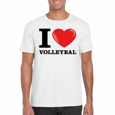 Goedkope wit i love volleybal t shirt heren
