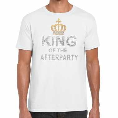 Goedkope wit king of the afterparty glitter steentjes t shirt heren