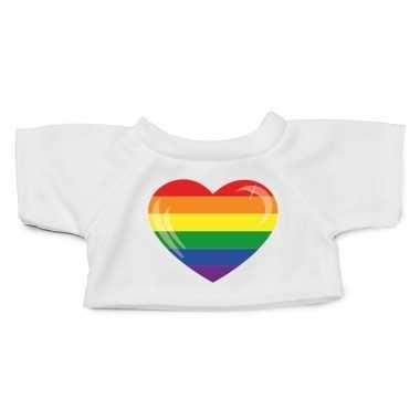 Goedkope wit knuffel shirt pride vlag hartje maat xl voor clothies kn