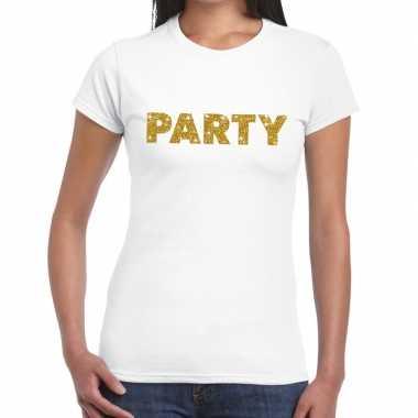 Goedkope wit party goud fun t shirt voor dames