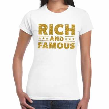 Goedkope wit rich and famous goud fun t shirt voor dames