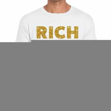 Goedkope wit rich and famous goud fun t shirt voor heren