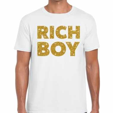 Goedkope wit rich boy goud fun t shirt voor heren