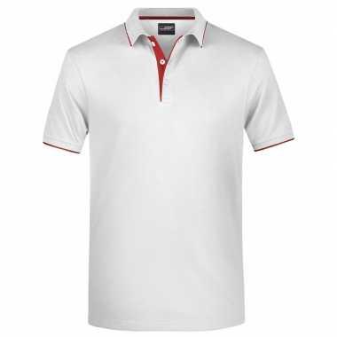 Goedkope wit/rood premium poloshirt golf pro voor heren